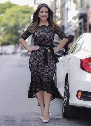 Vestido social em renda super modelador - moda festa - peça exclusiva