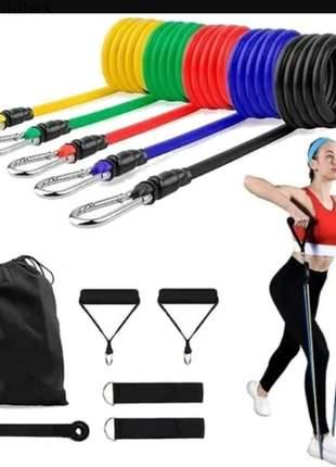 Kit elástico para treino exercícios malhar musculação casa