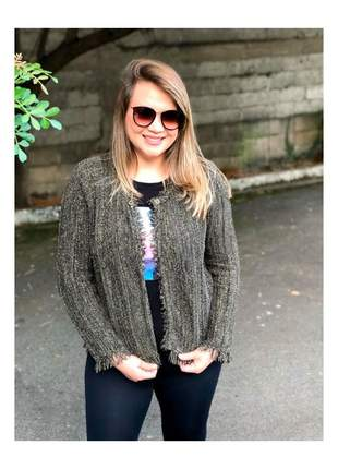 Casaqueto feminino tricot lurex