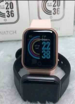 Relógio smartwatch d20+ inteligente ios e android esporte esse pode por foto de fundo