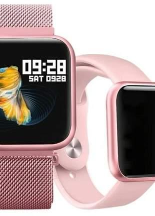 Relogio inteligente smartwatch p70 ideal para esporte 2 pulseira