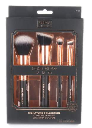 Kit pincel importado urban studio rose gold pro coleção exclusiva cerdas100% vegan