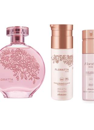 Kit perfume + hidratante corporal + body spray floratta rose o boticário