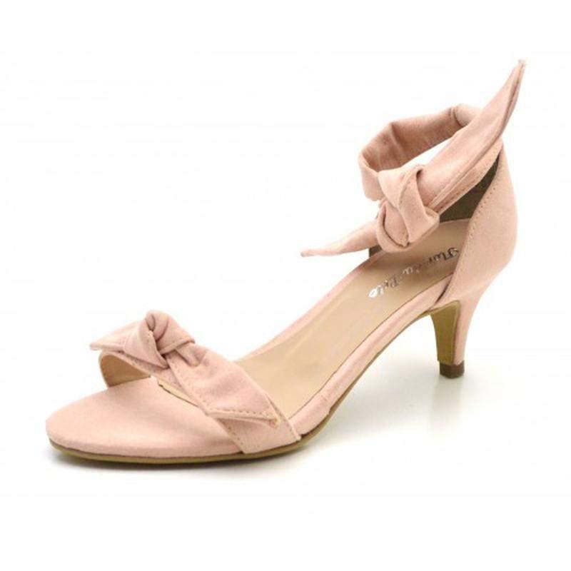 c29a80a5d9 Sandália social rosa claro salto baixo fino com laço amarrar na perna1 ...