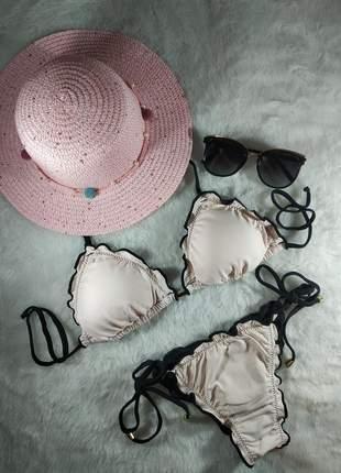 Biquíni cortininha  - calcinha dupla-face (nude-preto)