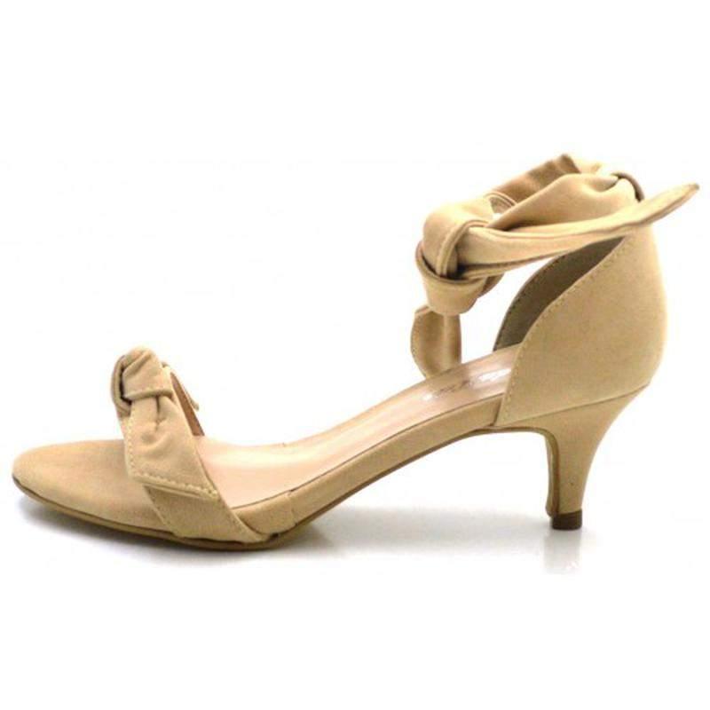 d7594cee2b ... Sandália social nude salto baixo fino com laço amarrar na perna2 ...