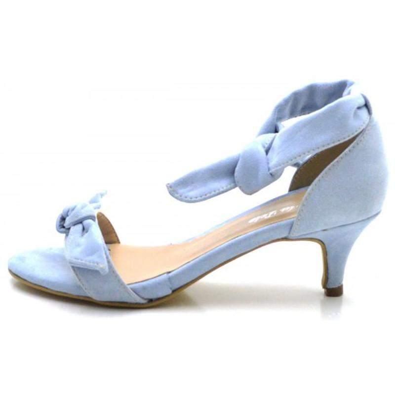 f3ab3fdb33 ... Sandália social azul claro salto baixo fino com laço amarrar na perna2  ...