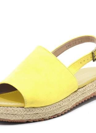 Sandália rasteira avarca amarela flat form corda