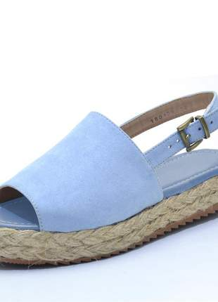 Sandália rasteira avarca azul claro flat form corda