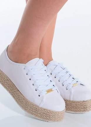 Tênis feminino flatform branco com sisal