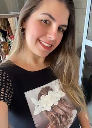 T-shirt preta estampa  bordado  branco