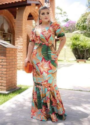 Vestido longo social grace. cor laranja. moda evangélica. promoção