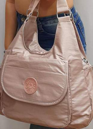 Bolsa kipling rose gold metalizada