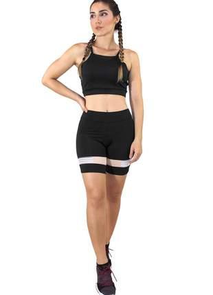 Conjunto fitness cropped alcinha preto e shorts preto com elastico moda fitness