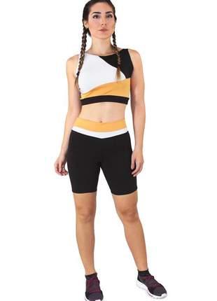 Conjunto fitness cropped branco amarelo preto e shorts preto com branco e amarelo moda fi