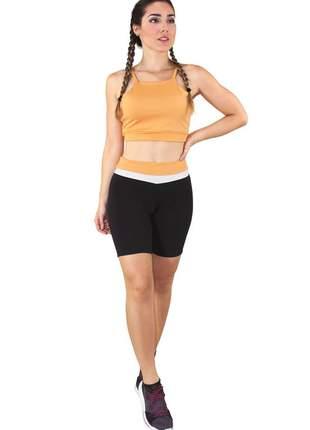 Conjunto fitness cropped amarelo e shorts preto com branco e amarelo moda fitness