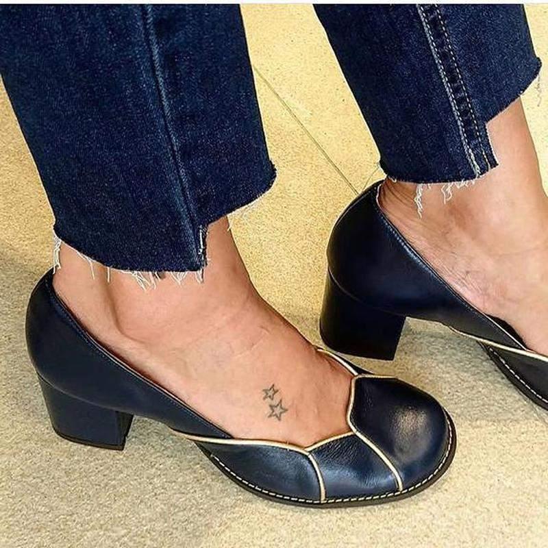 e7f9671baa Sapato feminino boneca de couro azul marinho e salto grosso dali shoes1
