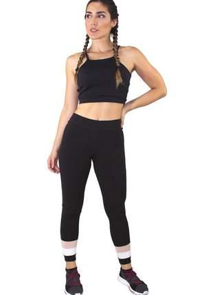 Conjunto fitness academia cropped preto e calça fitness preto com detalhe rosê e branco m