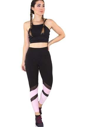 Conjunto fitness academia cropped preto e calça fitness preto com detalhe elástico faixa