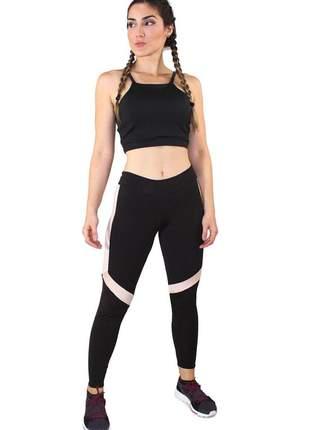 Conjunto fitness academia cropped preto e calça fitness preto com faixas branca e rosê mo