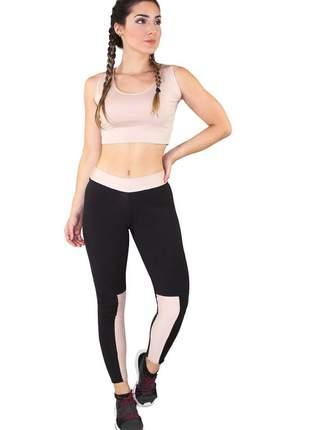 Conjunto fitness cropped rosê e calça fitness preto com detalhe rosê moda fitness