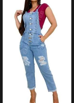 Macacão jardineira feminina jeans longo luxo tendência verão