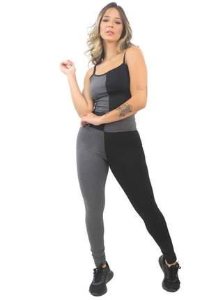 Conjunto fitness cropped alcinha e calça legging preto e mescla moda fitness