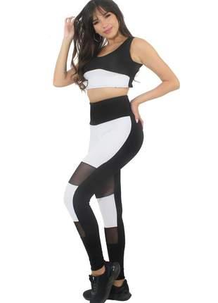 Conjunto calça legging branca preta com tulê cropped branco e preto moda fitness