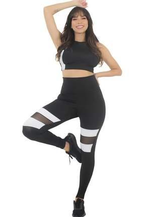 Conjunto calça legging preto e branco com tulê moda fitness
