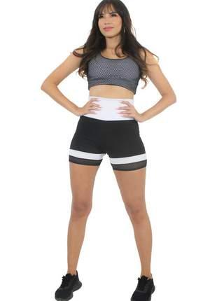 Conjunto cropped branco com tela e short preto e branco moda fitness