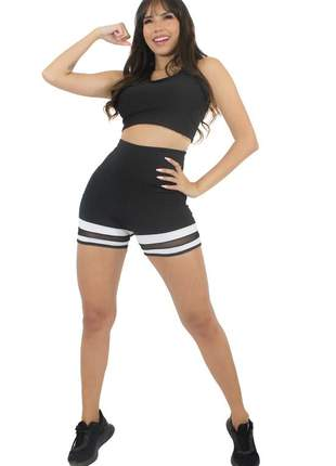 Conjunto short e cropped preto com branco e tulê moda fitness