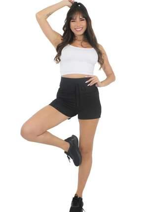 Conjunto short preto liso com cadarço e cropped branco bolso fake moda fitness