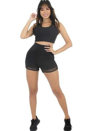 Conjunto fitness short com tulê e cropped preto moda fitness