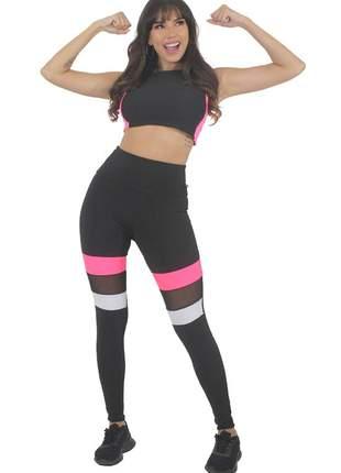 Conjunto calça legging detalhe preto e branco rosa neon e tulê cropped preto moda fitness