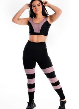 Conjunto cropped e calça legging preto detalhe violeta moda fitness