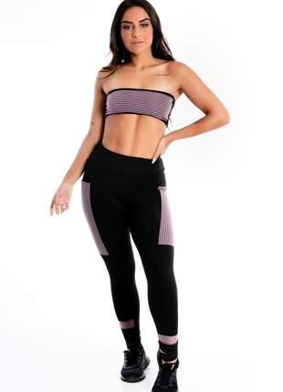 Conjunto cropped e calça legging preta com violeta e bolso moda fitness