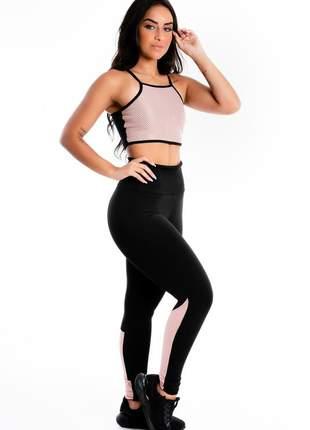 Conjunto cropped alcinha e calça legging preto detalhe tela rose moda fitness