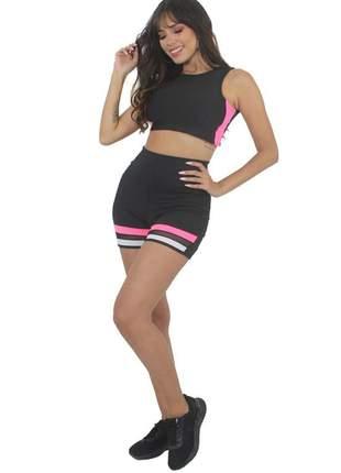 Conjunto short e cropped preto com rosa neon moda fitness