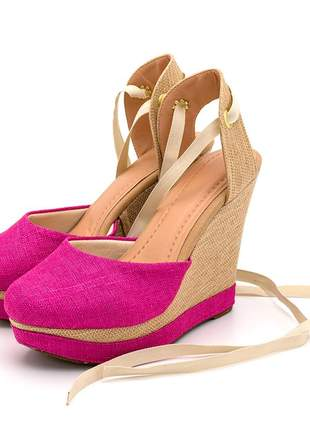 Sandália anabela linho rosa pink amarrar na perna juta bege