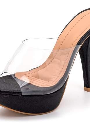 Sandália tamanco meia pata transparente salto alto fino preto