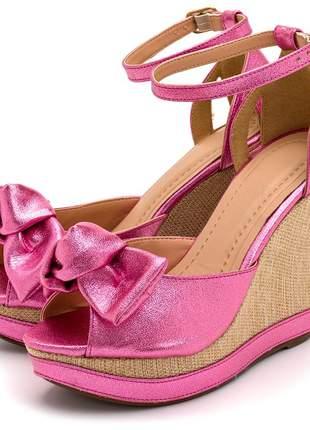 Sandália anabela rosa laço salto plataforma em juta fivela