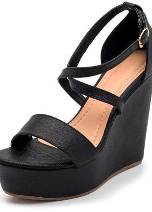 Sandália anabela salto alto tira trançada napa preto cintilante