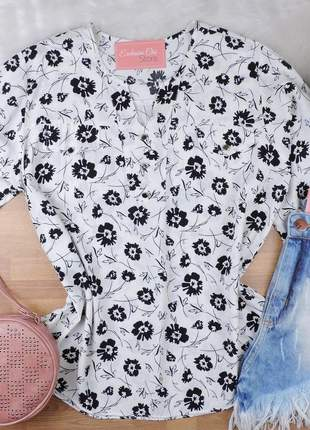 Camisa feminina estampada pluz size manga 3/4 cs62