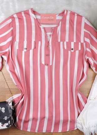 Camisa feminina listrada pluz size manga 3/4 cs63