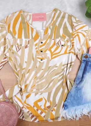 Camisa feminina estampada plus size manga 3/4 cs59