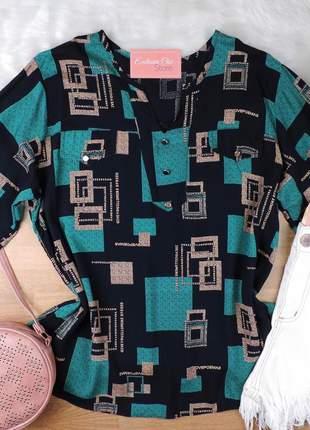 Camisa feminina estampada plus size manga 3/4 cs64