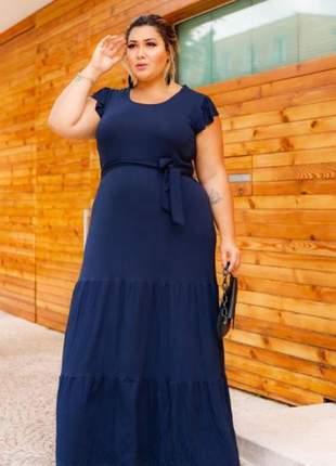 Vestido longo de festa plus size azul, preto, verde e rosa