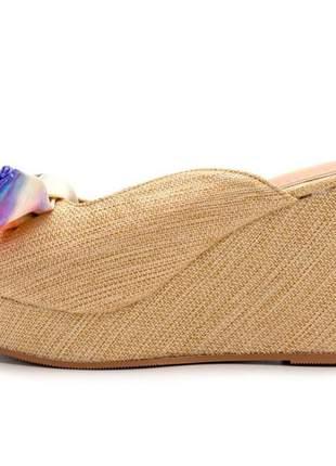 Sandália anabela tie dye salto médio boneca feminina confortável ref 7104
