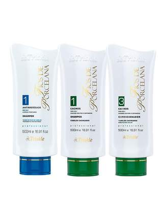 Kit shampoo antirresíduos + shampoo + condicionador cachos triskles