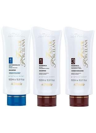 Kit shampoo antirresíduos + shampoo + condicionador mandioca triskles
